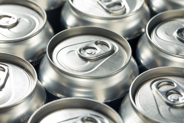 Shiny Silver Aluminum Soda Cans