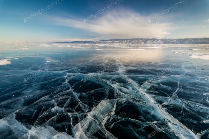 Ice patterns on Lake Baikal. Siberia, Russia