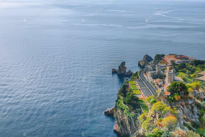 Panoramic aerial view of city Taormina