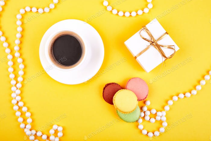 Sweet Dessert macaroon, coffee, gifts