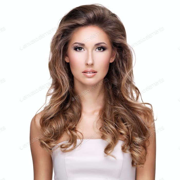 Beautiful woman with long wavy brown hair