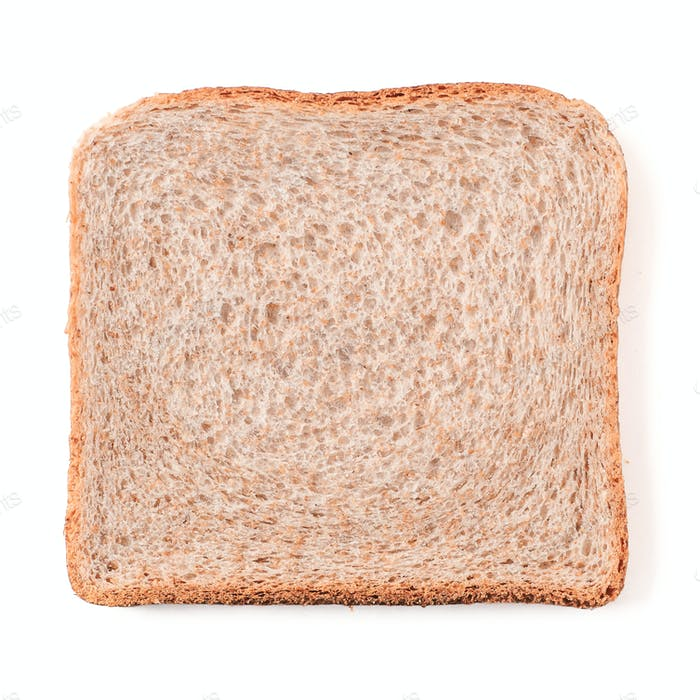 Bread slice isolated on white with clipping path