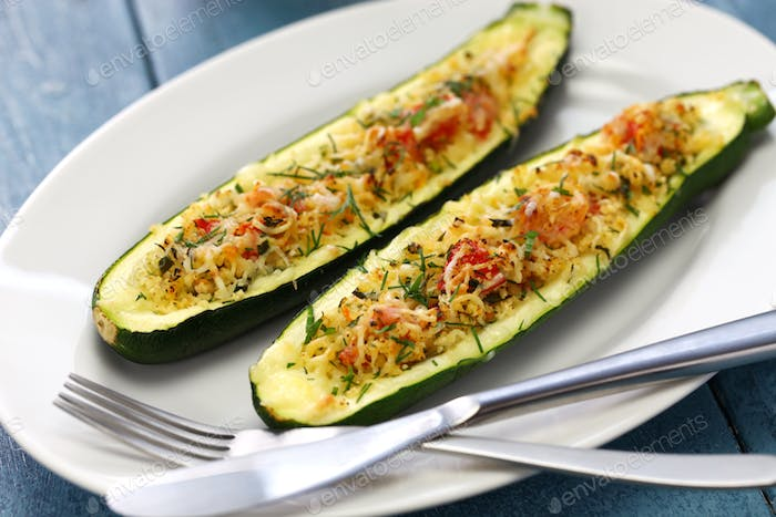 Thumbnail for baked vegetarian zucchini boats