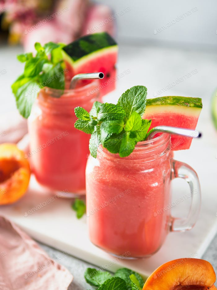 Thumbnail for Watermelon and Peach Smoothies, copy space