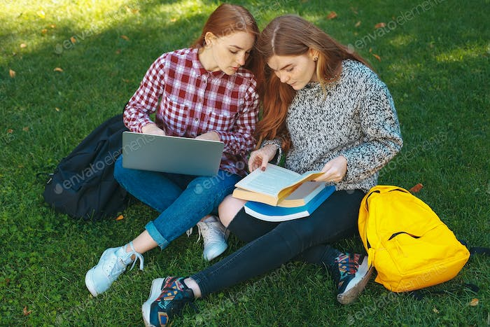 Students studying outdoors on campus at the university
