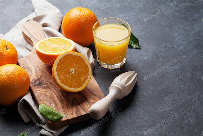 Fresh orange fruits and juice