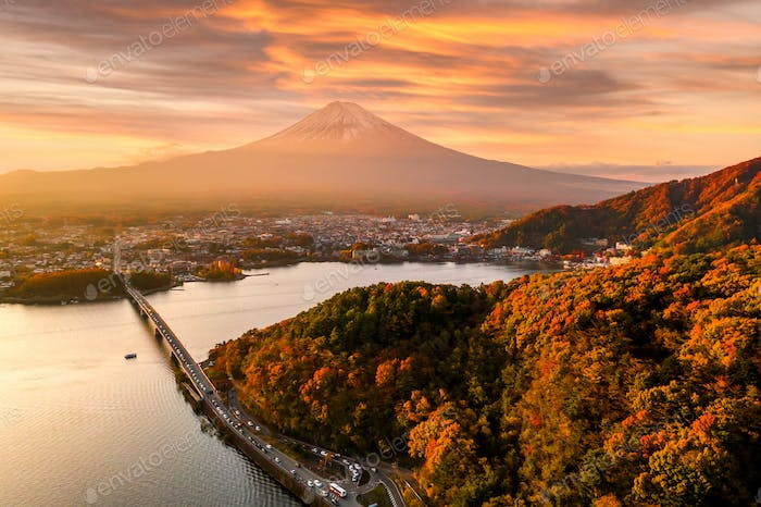 Mt. Fuji in autumn on sunrise at lake Kawaguchiko, Japan