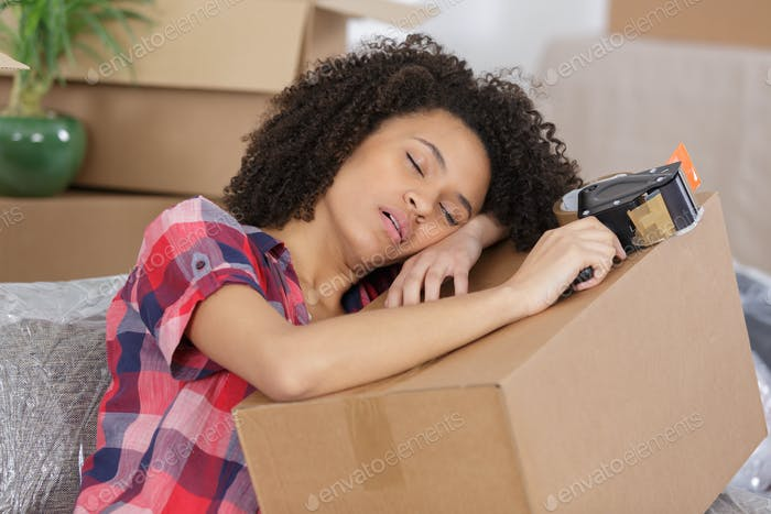 woman exhausted by house moving
