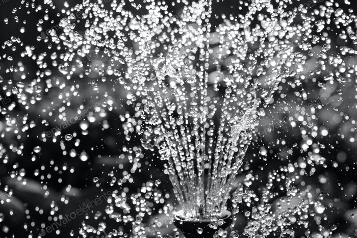 Black and white water fountain close-up