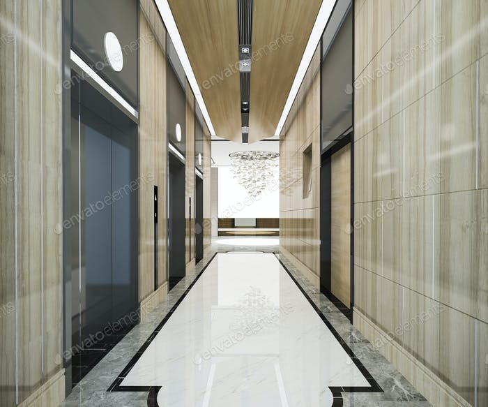 modern steel elevator lift lobby in business hotel with luxury design