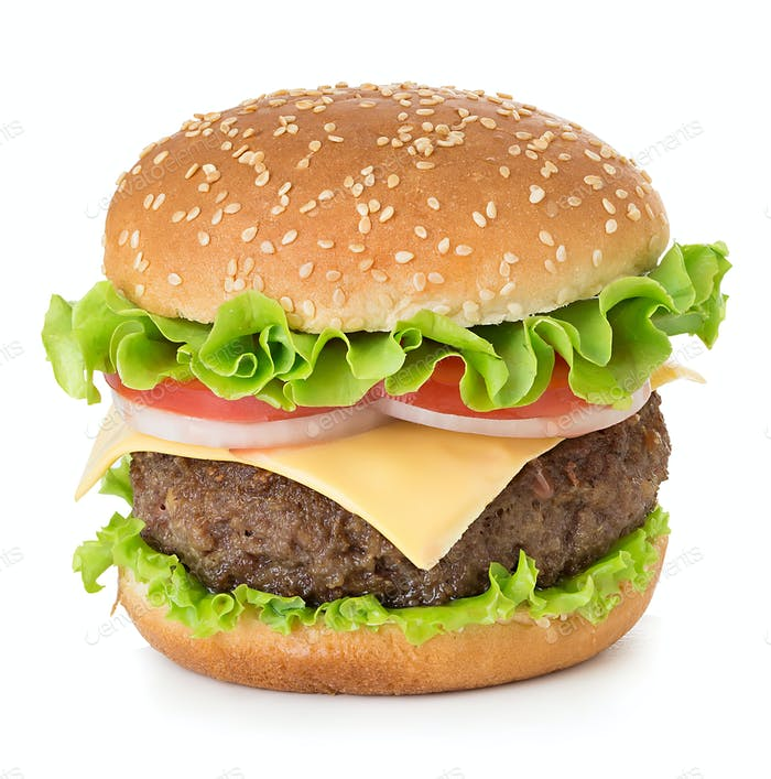 American big delicious classic burger isolated on white background.