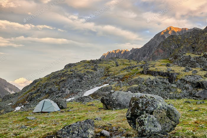 Only Trekking Tent on Small Platform among Boulders