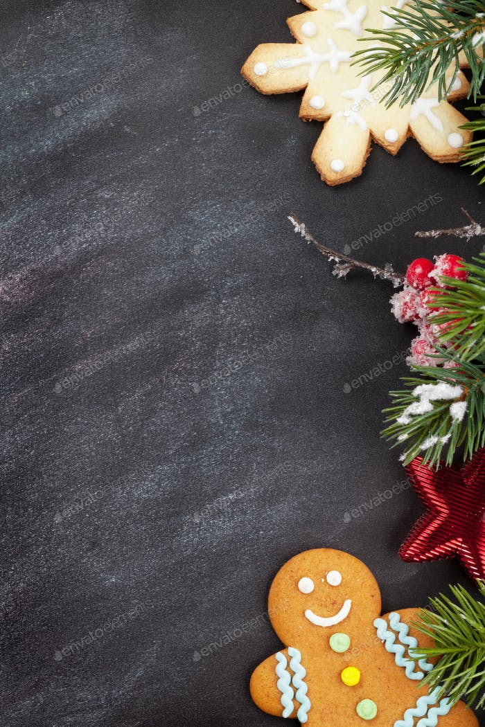 Christmas cookies and fir tree branch