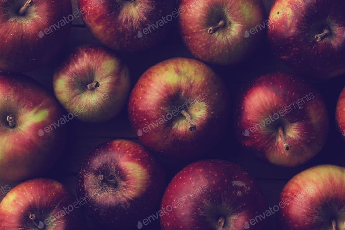 top view close up texture of small garden ripe apples