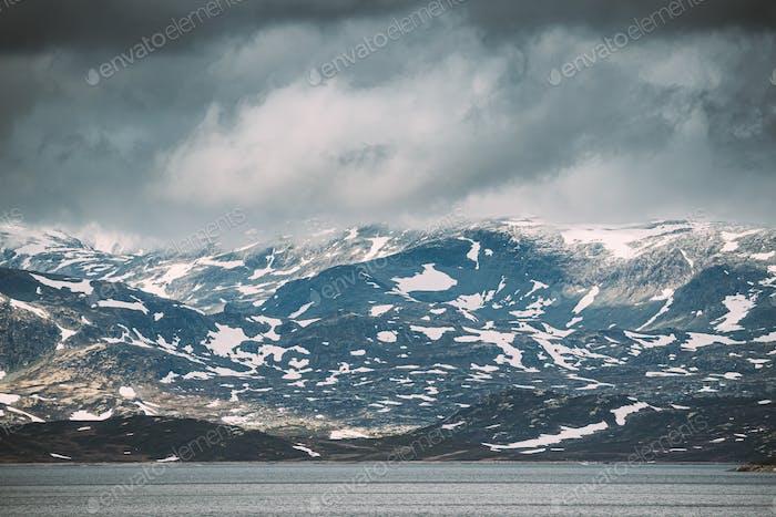 Oppland, Tyin Lake, Norway. Stones On Coast Of Beautiful Lake Ty