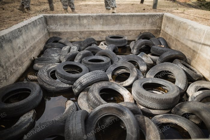 Boot camp with tires obstacle course