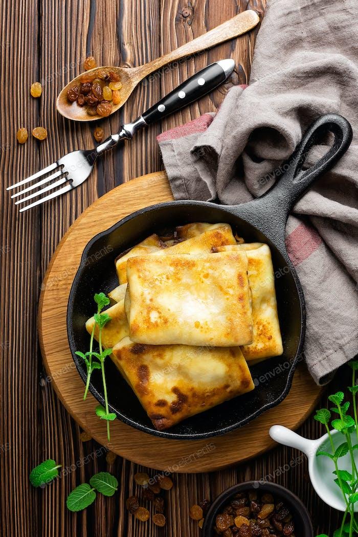 sweet pancakes stuffed cottage cheese