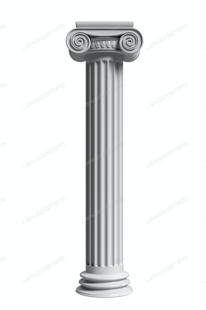 Marmor-Säulensäule klassisch griechisch isoliert vor weißem Hintergrund. 3D Illustration