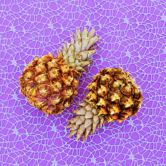 Two Mini pineapple fashion Geometry Minimal art design Candy Col