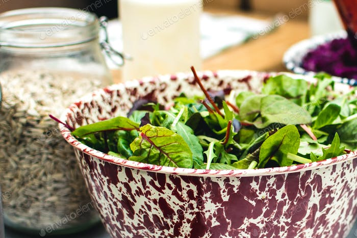 Fresh Swiss chard leaves in salad bowl