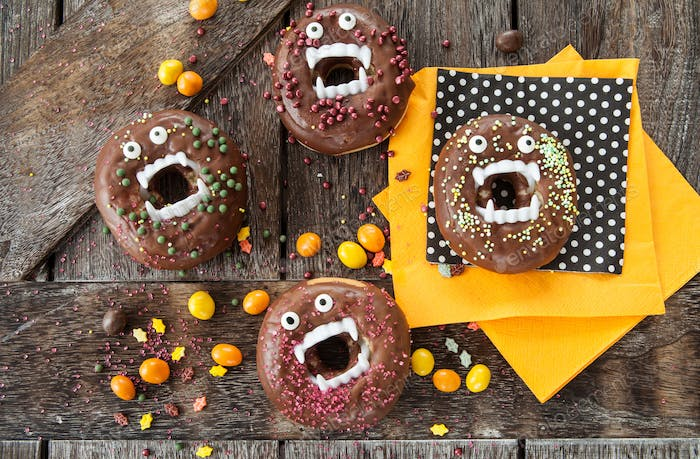 Scary Halloween donuts