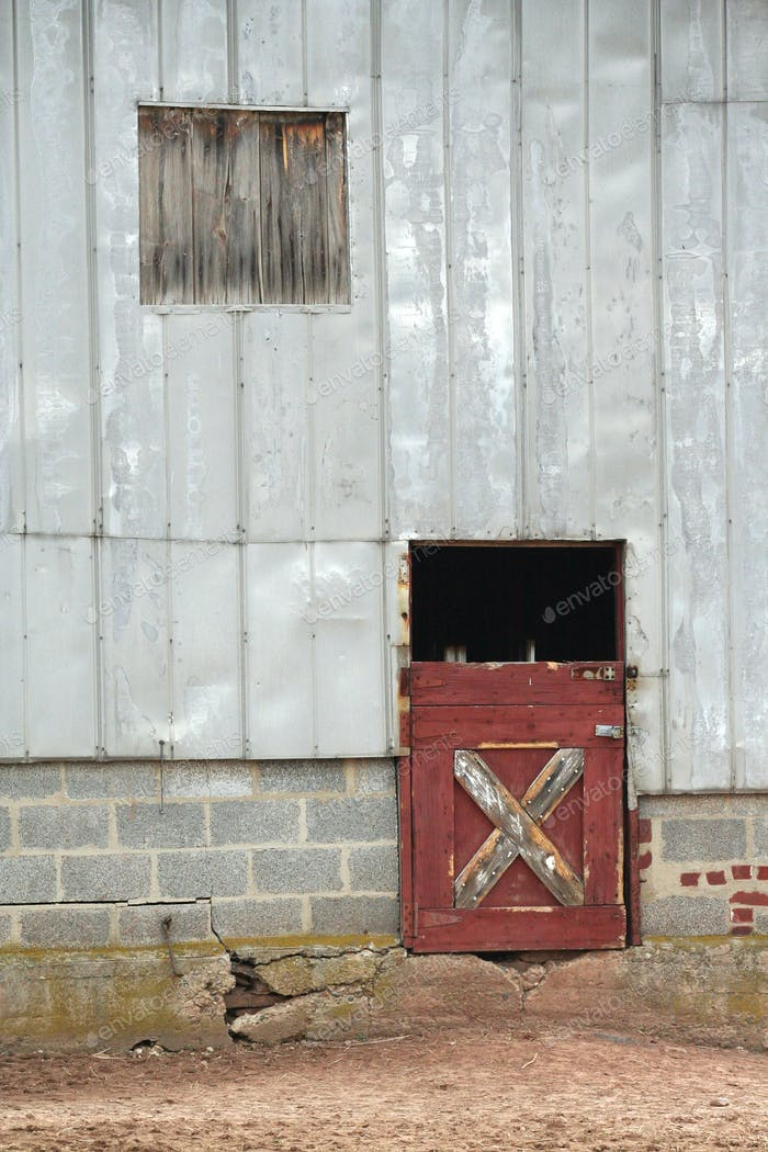 Old barn door and window