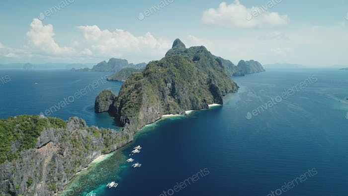 Amazing seascape at tropical islands of Philippines Archipelago aerial view. Summer cruise scenery