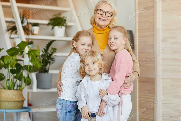 Happy grandmother with her grandchildren