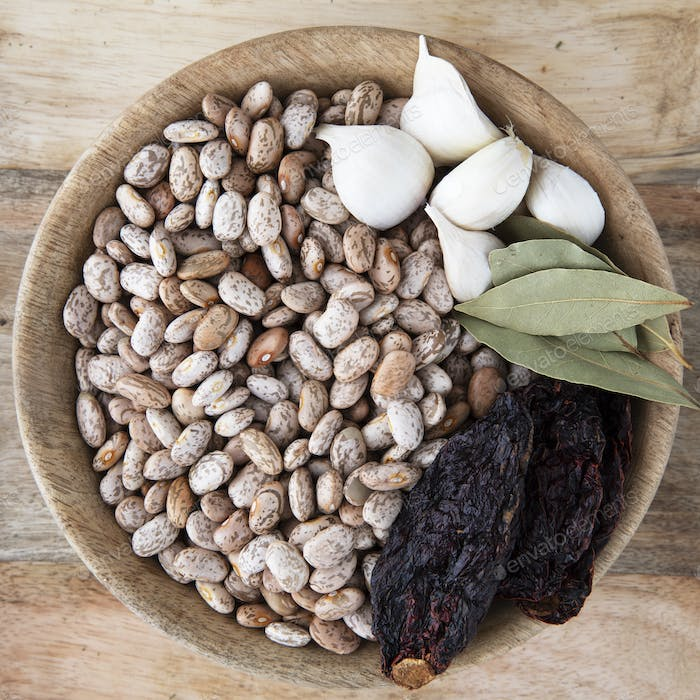 Bowl of Pinto Beans and Spices
