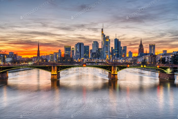The skyline of Frankfurt in Germany