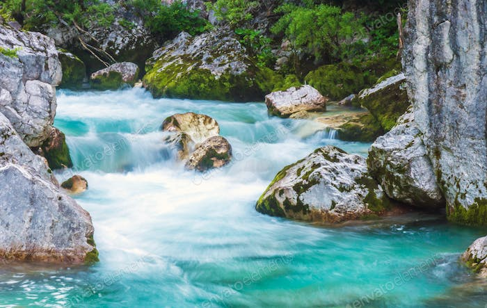 Beautiful turquoise river in the Triglav National Park in Slovenia.