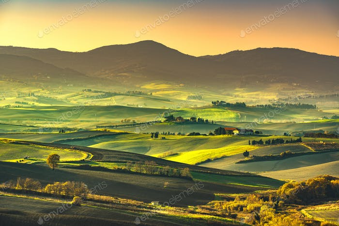 Thumbnail for Tuscany countryside misty panorama, rolling hills and green fiel
