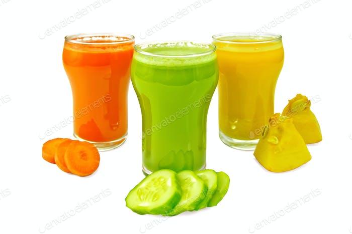 Juice vegetable in three glasses with vegetables