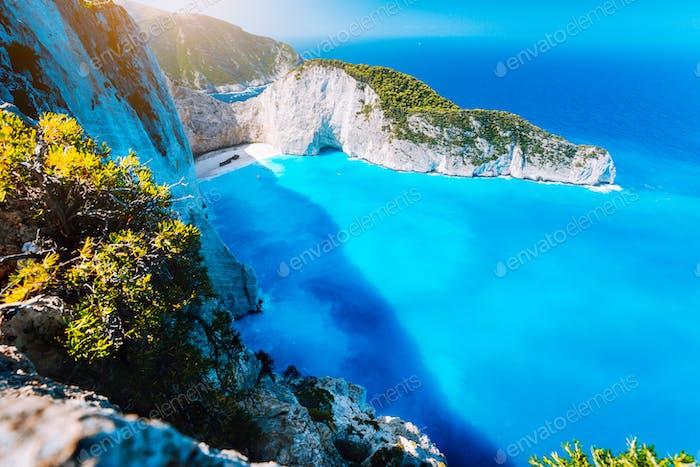 Panorama of Navagio beach Shipwreck bay Zante from view point. Zakynthos Greece