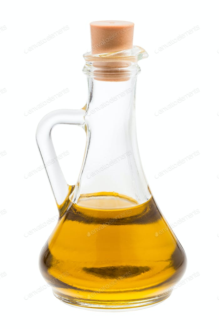 closed glass jug with olive oil isolated