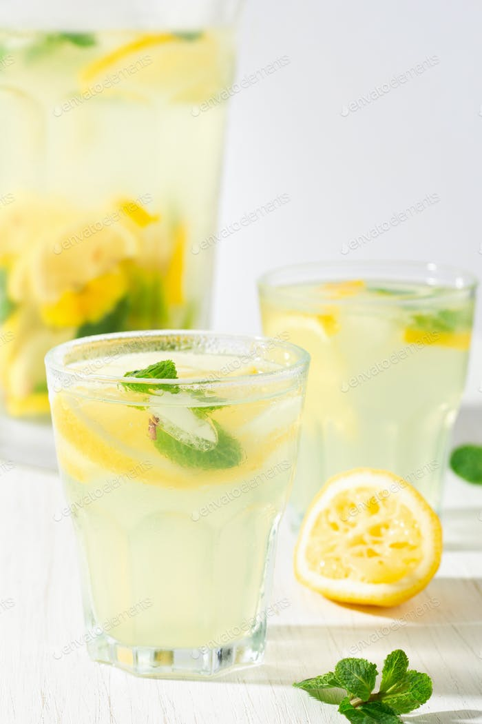 Close Up View on Two Glasses of Lemonade.