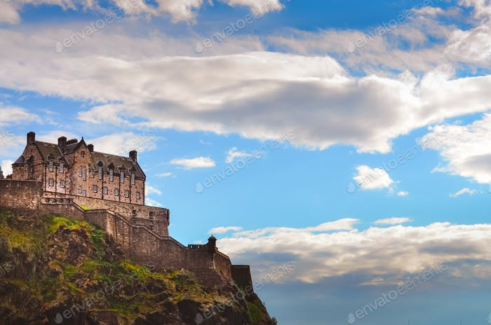 Traditional old houses at Edinburgh castle, Scotland