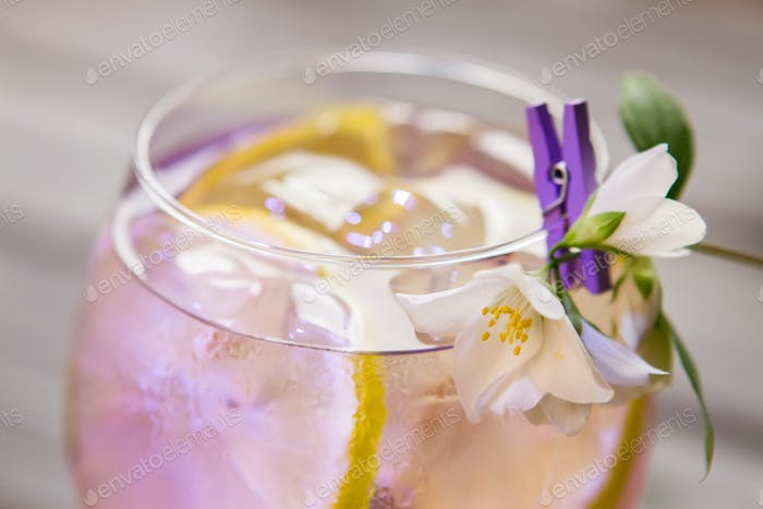 Cocktail decorated with white flower