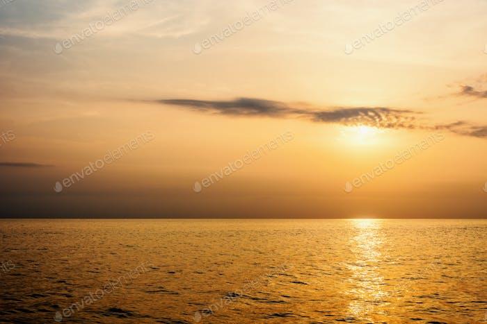 Warm orange light of the sun at sunset