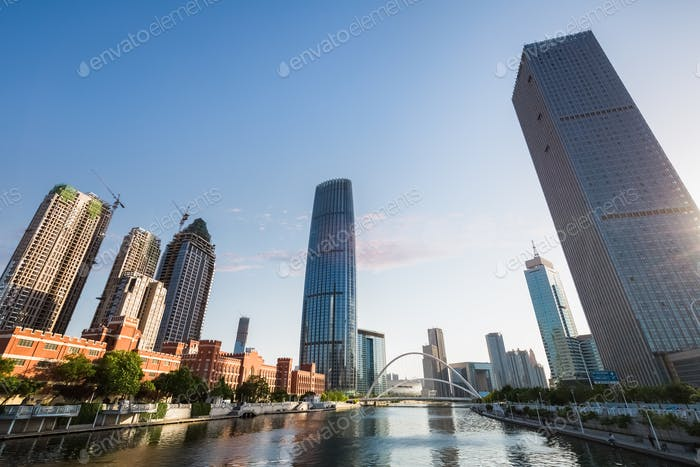cityscape of tianjin at dusk