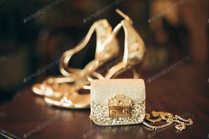 luxury fashion woman accessories, golden heeled shoes