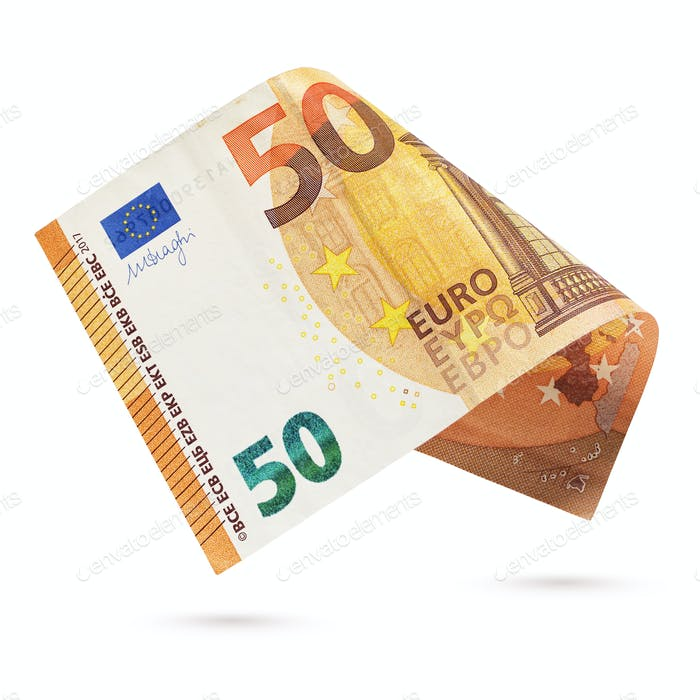 Fifty euro banknote isolated on a white background.