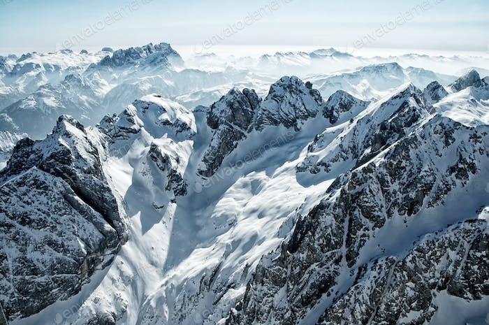 Ski resort in the Italian Dolomites. View from Marmolada glacier