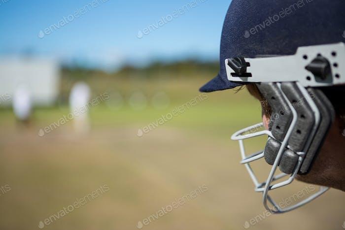 Close up of batsman at field