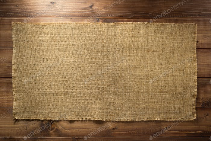 burlap hessian sacking on wood