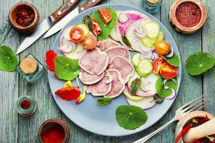 Meat tongue salad