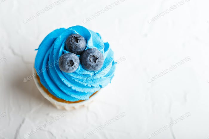 Appetizing cupcake with blueberries