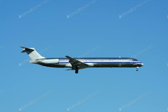 Passenger jet plane landing