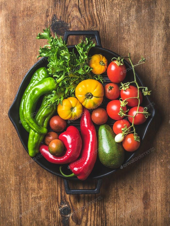 Fresh raw vegetable ingredients