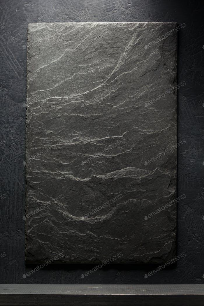 slate stone and shelf  on black